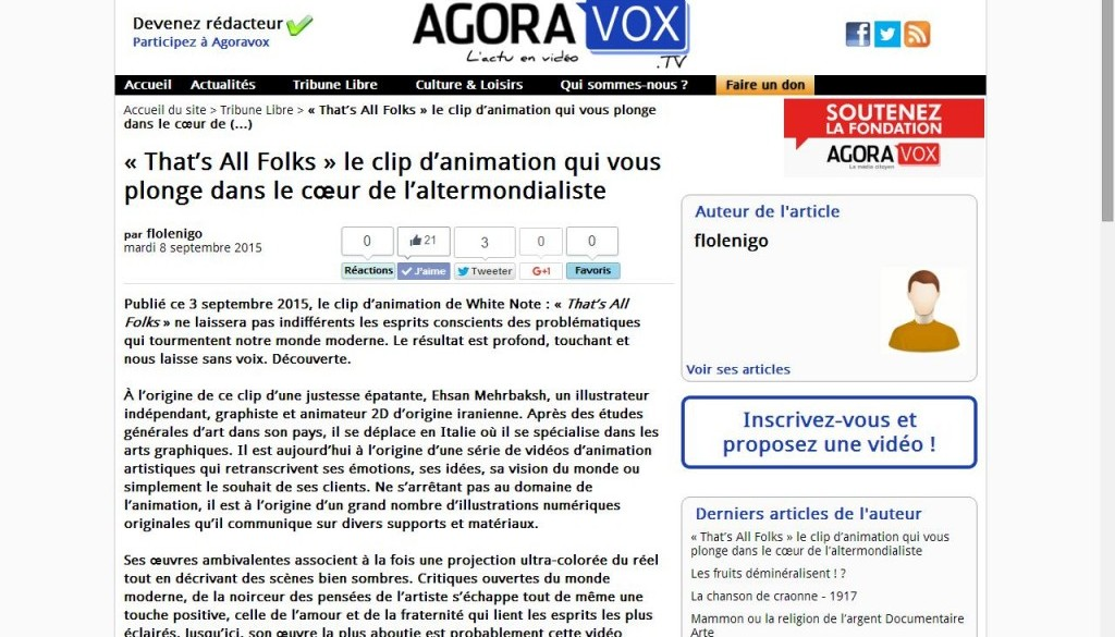 Agoravox announce « That's All Folks » clip